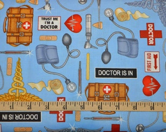 Quilting Treasures. What the Doctor Ordered. Doctor Toss Blue - Cotton fabric BTY - Choose your cut