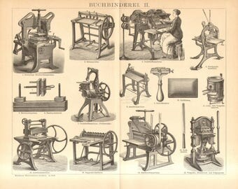 1894 Bookbinding Tools and Equipment Antique Engraving Print