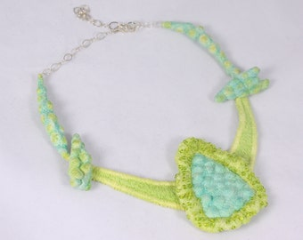Silk Necklace Wearable Art Embroidered Necklace removeable pin Aqua Green Blue yellow.