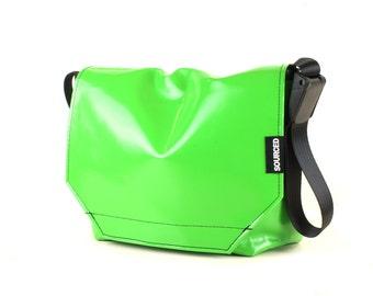 Messenger Bag made from Upcycled Truck Tarp, Water resistant Laptop Bag, Courier Bag, Satchel, Shoulder Bag (O08)