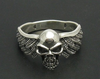 Sterling silver pendant solid 925 skull ring with natural leather