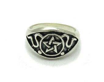 Sterling silver ring pentagram solid 925 pendant1622