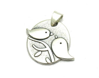 PE001147 Sterling silver pendant solid 925 two birds