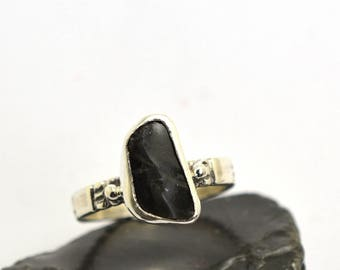 Sterling silver ring black obsidian ring geometric silver black raw stone ring, artisan jewelry, gift for her ring size 7