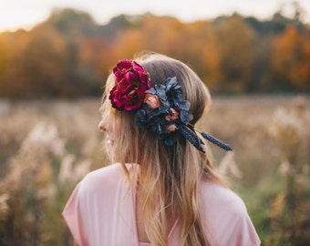 Fleur De Vin Headpiece floral flower crown halo wreath wedding hair wine purple pink elegant side lavender