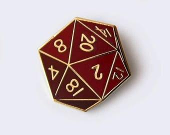Twenty-Sided Die Enamel Pin - D20 - D&D - Gamer - RPG Enamel Pins