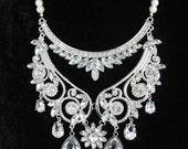 Silver tone Back Drop Wedding Necklace, Vintage Inspired Necklace, Rhinestone Backdrop Necklace, Bridal Necklace