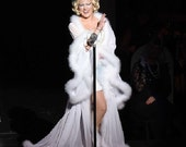 Deluxe Chiffon dressing gown robe with marabou feather trim