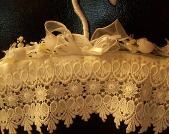 White bridal hanger, satin hanger, lace hanger