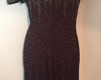 Stunning Chocolate Brown Beaded Gold Gown