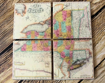 New York Map_Personalized Coaster Set _Travel Gift_ Map Coasters_Gifts under 50_Wedding Gift_Coworker gift for him