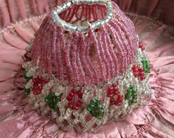 This Small Antique Beaded Boudoir Lamp Shade Is Perfect For Your Abode