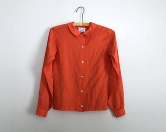 1970s tangerine button up round collar blouse S