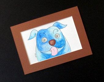 "English bulldog original watercolour  5"" x 7"" brown  mount ""So Blue"" funny blue dog"
