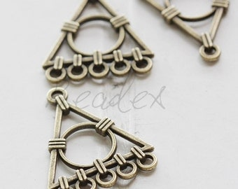 10 Pieces / Triangle / Link / Antique Brass Tone / Base Metal / 5 to 1 component (X3256//C745)