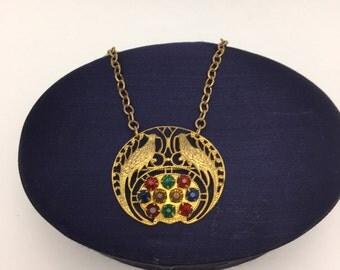 Vintage Brooch Necklace Vintage Necklace Bird Necklace multi colored rhinestones