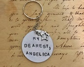 Hamilton The Musical Take a Break my DEAREST ANGELICA Stamped Charm Keychain