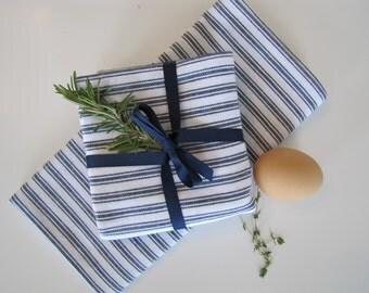 Farmhouse Ticking Kitchen Towel, Farmhouse, Vintage Kitchen, Tea Towel, Farmhouse Towel, Blue Kitchen Towel