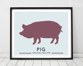 Farm animal prints, Pig Print / Animal decor for kids. Country style art, Animal homeware, Nursery art by little grippers