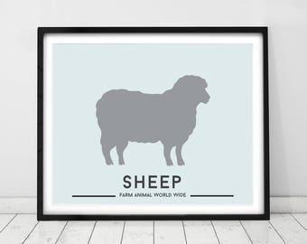 Farm animals, wall art. Kids prints, farm decor, Sheep, nursery decor, nursery prints, art for babies, country style.