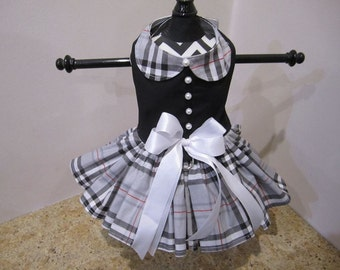 Dog Dress  Black Fashion Plaid