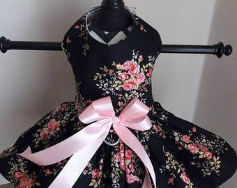 Dog Dress  Black with Pink  Roses by Nina's Coture Closet