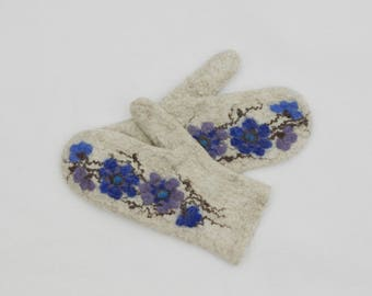 Felted Mittens Merino Wool Sand Blue Floral