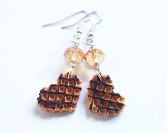 Food Earrings Waffle Earrings ( chocolate miniature food polymer clay food waffle kawaii earrings miniature waffle food jewellery mini food)