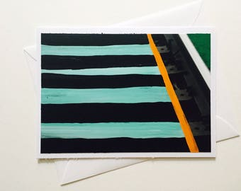 Lines hand painted greeting card