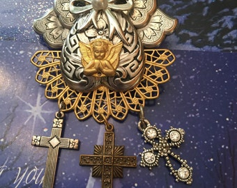 Angel Brooch - Christian HOLIDAY Cross Pin - Religious Jewelry