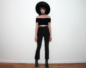 High Rise Waist Pin STRIPE PANTS 90s BLACK White Striped Vintage Womens Size S