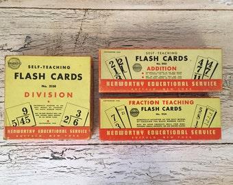 Vintage Flash Card Lot - Addition, Subtraction, Fractions - Great Vintage Look - 1948