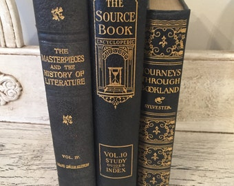 Vintage Black Gilded Book Stack  -  Library Wedding - Book Decor