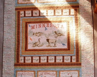Twin Lap Throw Quilt Minnesota Blue with Cream Words