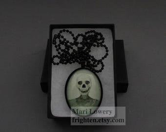 Halloween Jewelry, Skull Art Pendant, Creepy Necklace, Black and White, Dark Jewelry with Long Chain and Box