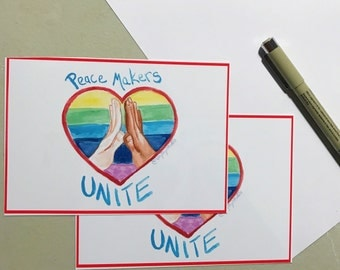 Peace Makers Unite Postcard digital download, Write to your senators! Diversity and inclusion matters, Love Trumps Hate
