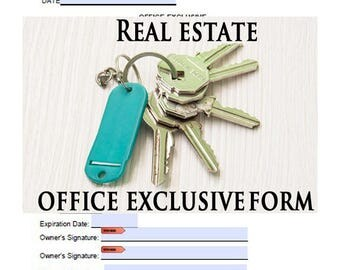 Real Estate Agent,Broker Office Exclusive Printable,Fill-able Form, Real Estate Tools, Forms, Printable Forms,Tools for Real Estate Agents