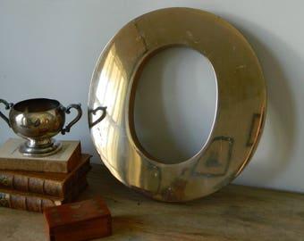 Large Brass Letter O. vintage sign. display. industrial. mod. home decor.