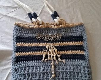 Blue, Navy Blue and Tan Bag