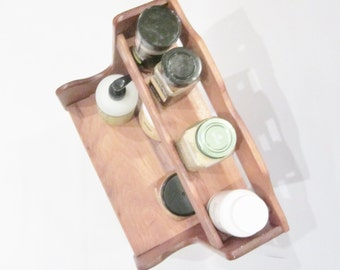 Vintage Cabinet Shelf SOLID WOOD Storage UNUSUAL Design