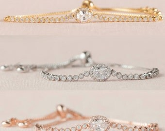 Bridal Bracelet, Rose Gold Wedding Bracelet, Bridal Earrings, Gold Bracelet, Swarovski, Bridesmaid Bracelet, Bangle Bracelet, Cora Bracelet