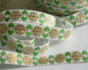 "St. Patty's Day FOE 5 yards 5/8"" Fold Over Elastic Green & White w/ Gold Foil Celtic Knot Shamrock Clovers Headband Connector Favor Ties"