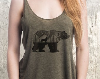 Women's Bear and Wolf Tank Top - Screen Printed Women's Tri-Blend Tank Top
