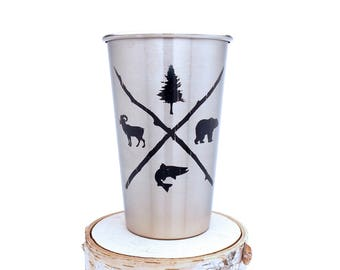 Trout Bear Bighorn Pine Stainless Steel Pint Glass