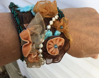 Peaches and brown cuff bracelet