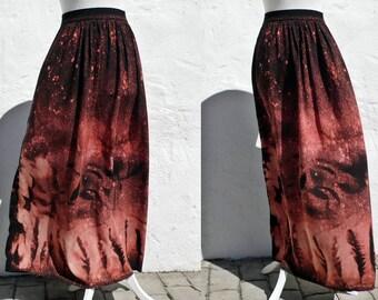 Maxi pink skirt maxi hippie skirt maxi boho skirt maxi handpainted skirt maxi black skirt maxi summer skirt vegan skirt vegan maxi skirt