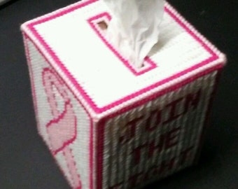Breast Cancer Awareness Plastic Canvas Tissue Box Cover