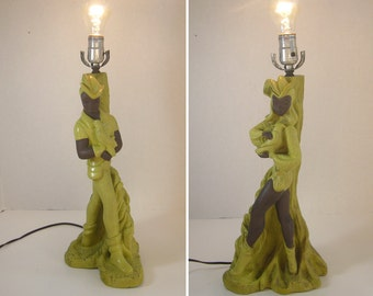 RARE 1950's Reglor Chalkware Lamp Couple - Woodland Nymphs with Falcon - Chartreuse and Brown - NO SHADES