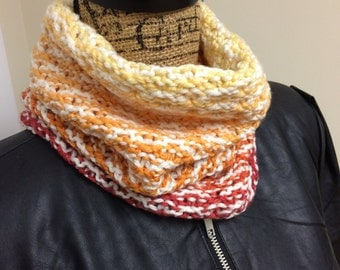 Neck Warmer, Cowl Scarf, Gradient Cowl, Merino/Cashmere Cowl, Knit Cowl, Knit Scarf