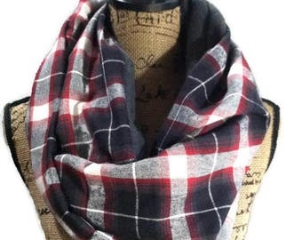 Scarf with pocket flannel polar fleece mix one loop red and black plaid flannel travel scarf with one hidden pocket